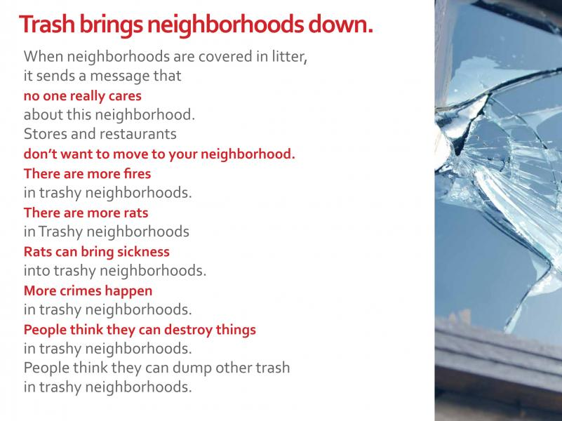 Parlato Baltimore Trash Talk School Presentation Slide - Broken Window Theory