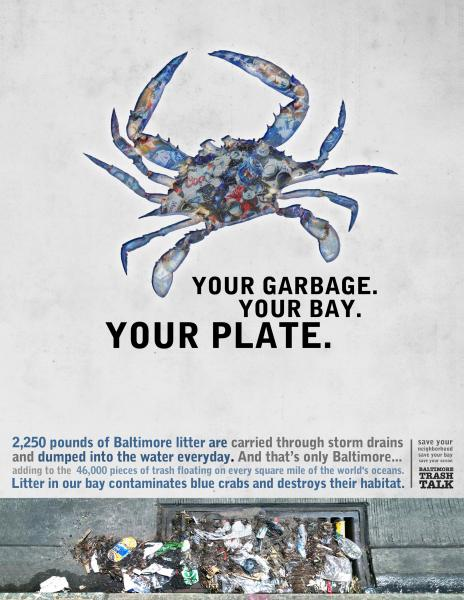 Poster - Your Garbage, Your Bay, Your Plate - Crab