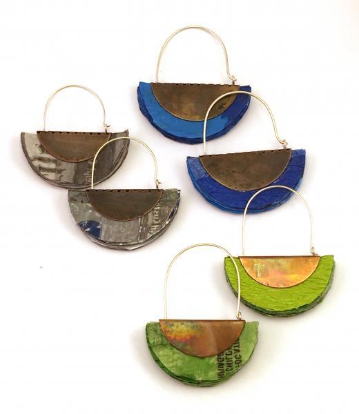 Plastic Bag Earrings (Half-circle design)