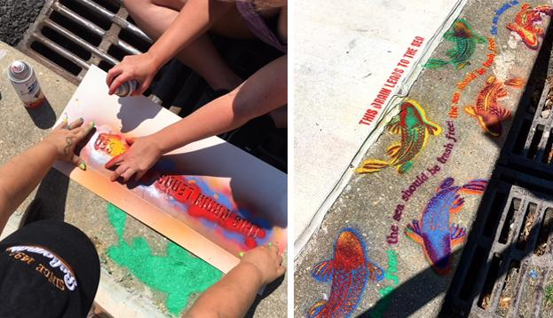 Storm Drain Stenciling with Volunteers