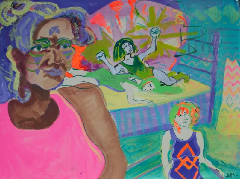lady, ladies wrestling, Sarah Magida, art, painting
