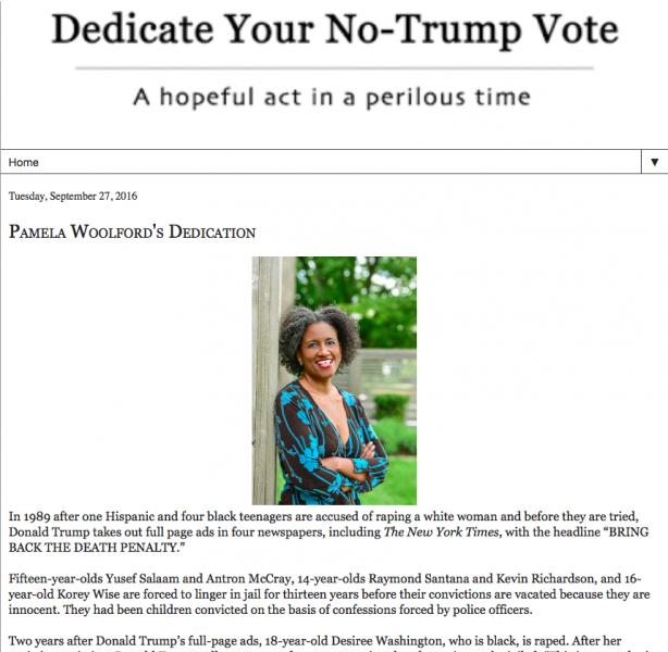 Pamela Woolford's Dedicate Your No-Trump Vote Article