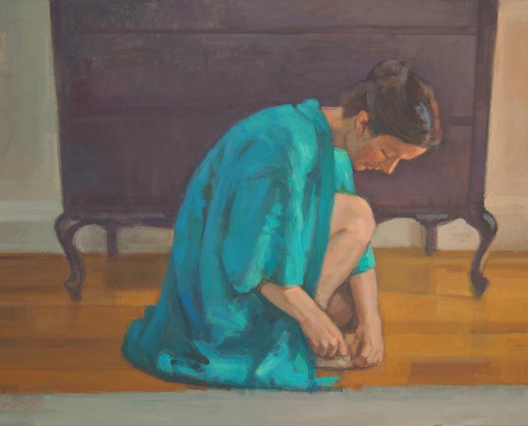 Woman Kneeling With Blue Kimono