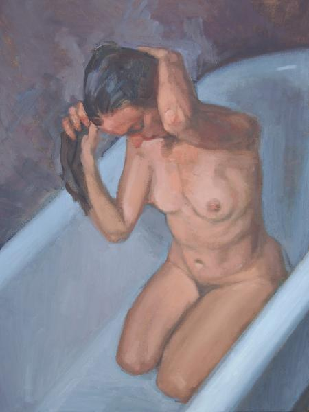 Woman Wringing Her Hair