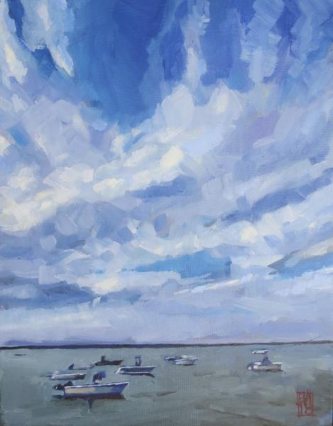 a painting of boats under a vast cloudy sky