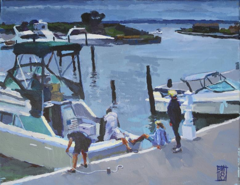 painting of folks in a marina on a boat