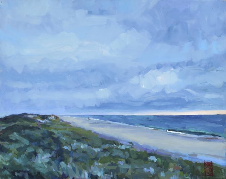 Painting of  a cloudy sunrise on Fire Island