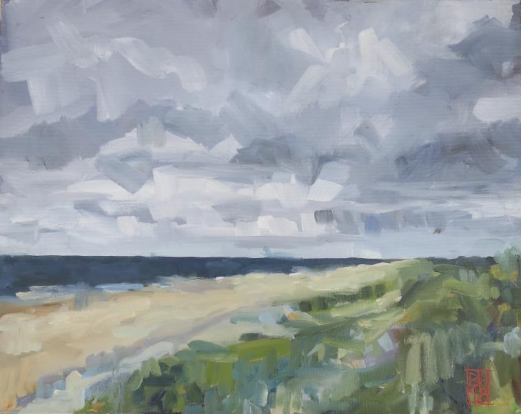 oil painting of a moody sky at the beach