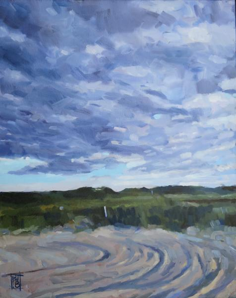 oil painting of a moody sky and tracks in a dirt road