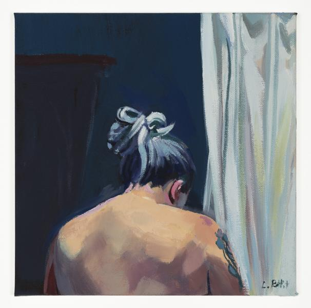 painting, portrait, self portrait, bathroom, curtain, figurative painting, nude
