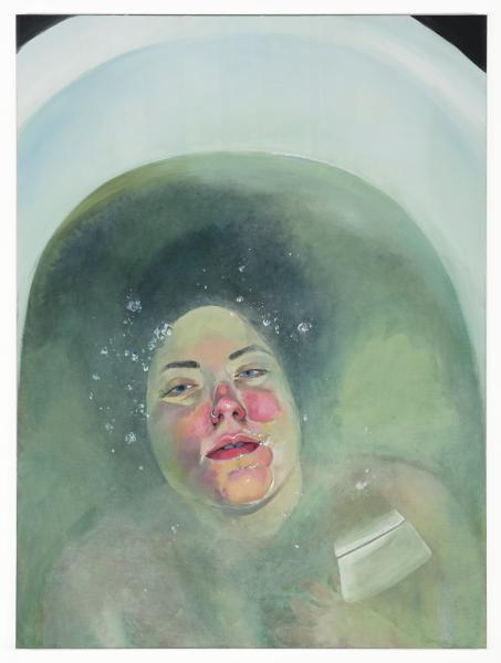 painting, portrait, self portrait, green, red, water, bathtub, sinking
