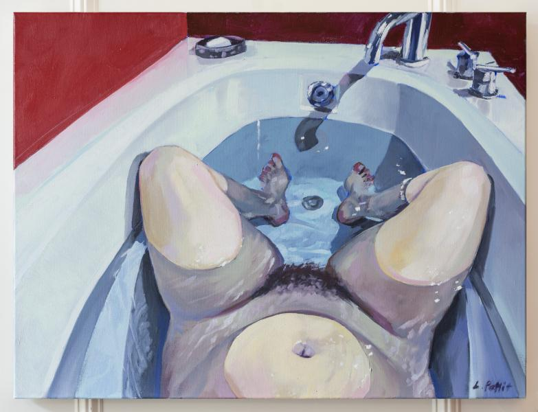 painting, portrait, self portrait, tub, bath, water, solitude, figurative painting, nude