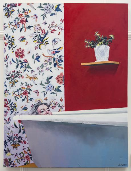 painting, portrait, self portrait, bath tub, tub, pattern, wall paper, plant, red, color blocking