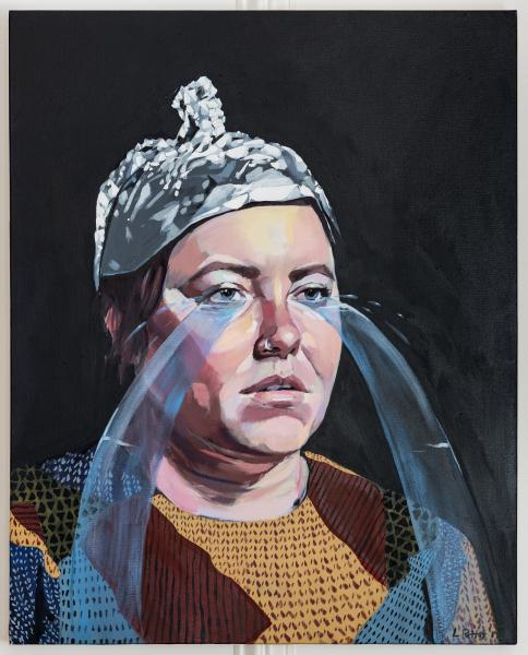 painting, portrait, self portrait, tin foil hat, crying, figurative painting, color, pattern, water