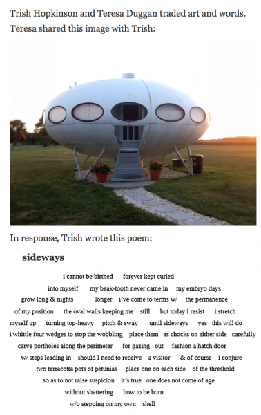 Ekphrastic 2017: spaceship photo and Sideways poem (screengrab)