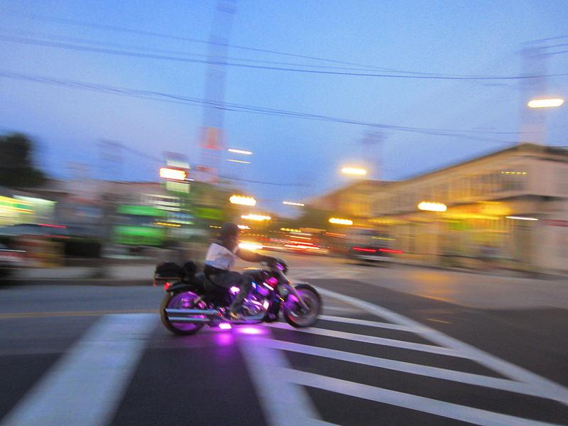 purple lights motorcycle
