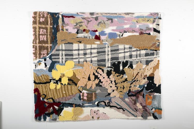 rug tufting, textile art, painting, landscape