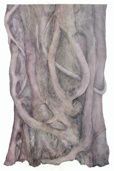"Death by Fig, 2019, Watercolor on paper and digital print om Plexiglas, 36.25"" x 23"""