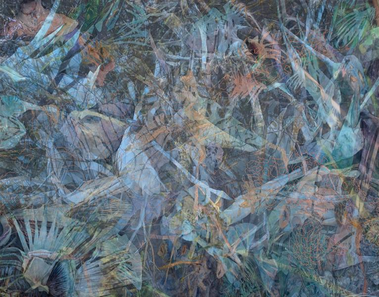 """Hidden in the Slag, 2019, Watercolor, archival pigment print on paper and framing Plexiglass, 33"""" x 41"""""""