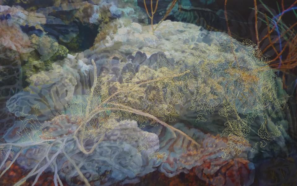 "Reef, 2017, Watercolor, archival pigment print on paper & Plexiglas, 29"" x 44"""