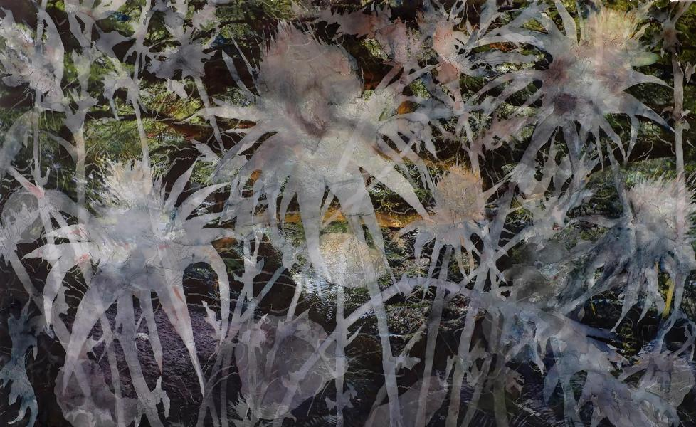 """Just Weeds, 2014-15, Watercolor, pencil, archival pigment print on paper, 30"""" x 45"""", While the label weed has negative implications it may simply refer to a wild plant growing in the wrong place some of which become desirable when intentionally c"""