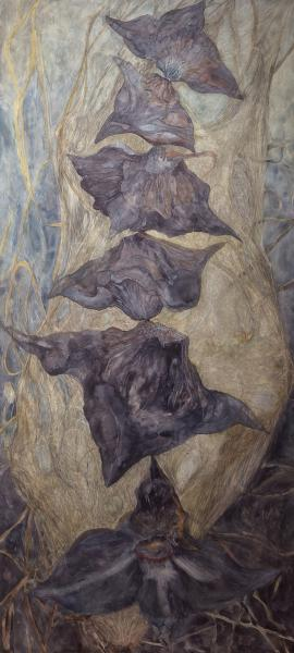 "Unbalanced Nature, Pod, 2014, Watercolor, archival pigment print on clayboard, 66"" x 30"""