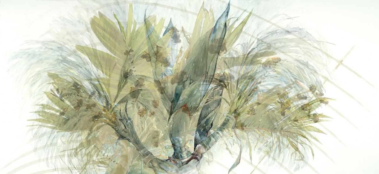 "Five Stages of the Palm with Bees, 2012-14, Watercolor, archival piment print on paper, 29"" x 63"""