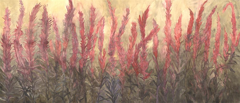 "Toxic Beauty Loosestrife, 2003/04, Watercolor, 30"" x 70"""