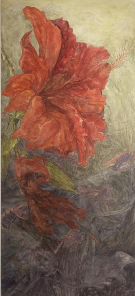 "Unbalanced Nature, Bloom, 2013, Watercolor, archival pigment print on clayboard, 66"" x 30"","