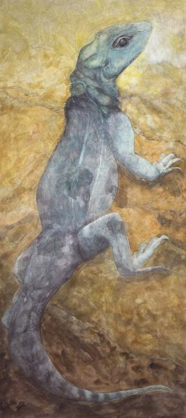 "Lizard, 2013-14, Watercolor on aquabord panel, archival pigment print, 66"" x 30"""