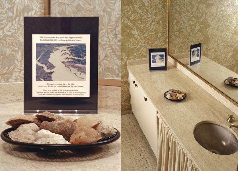 left: A detail image of soap oyster shells and written informational placard about the chesapeake bay.  Right: a pulled back image of the context, a bathroom.