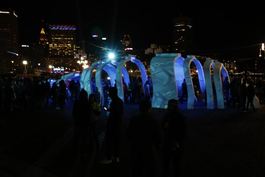 argo, projection, large sculpture, maryland science center, inner harbor, light city