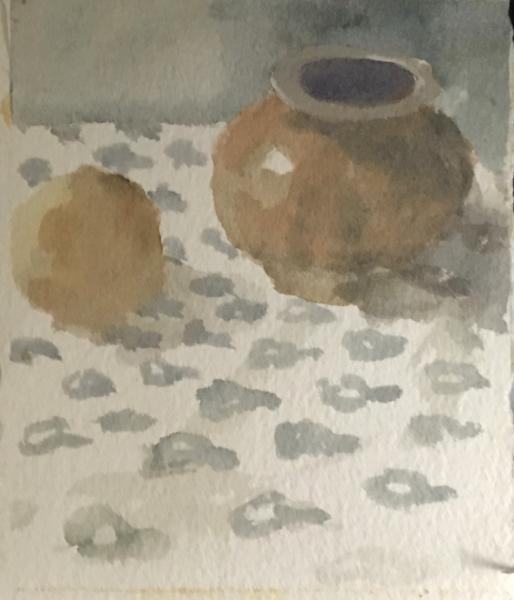 Brown Pot, Watercolor