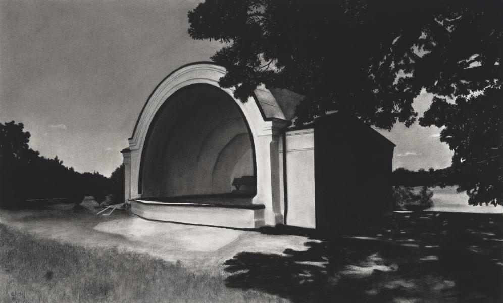Charcoal drawing of Clifton park bandshell