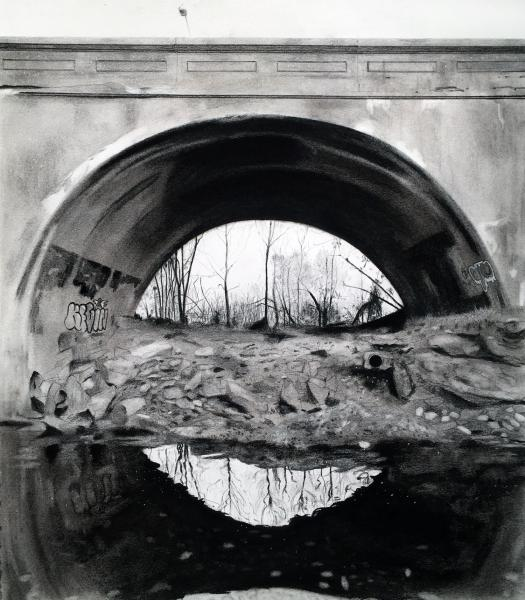 Charcoal drawing of Harford Road Bridge