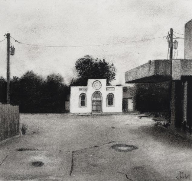Charcoal drawing of Hollins Market area