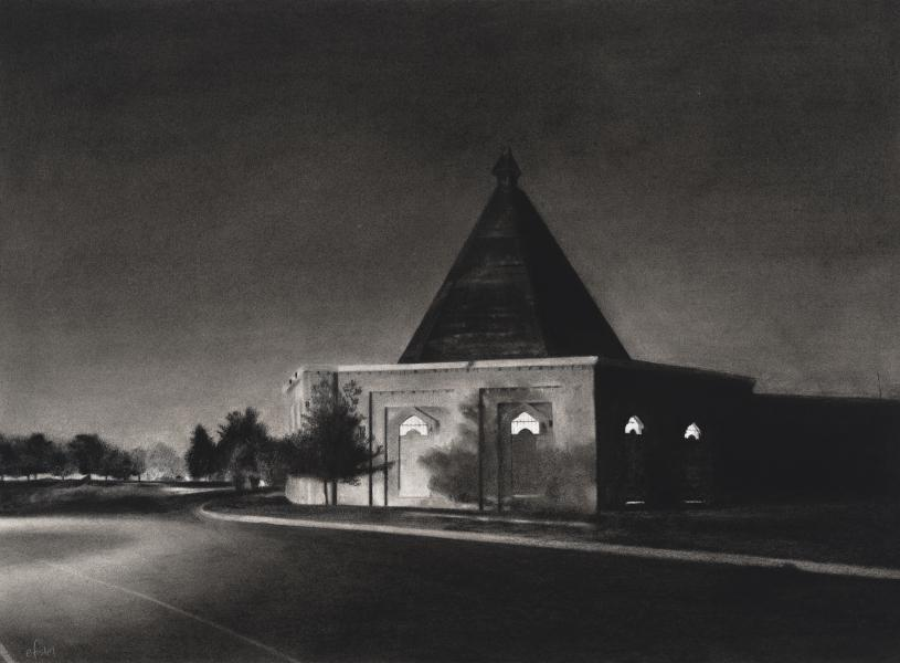 Charcoal drawing of Montebello pump house