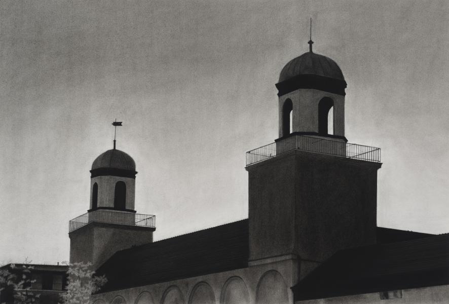 Charcoal drawing of North Avenue Market