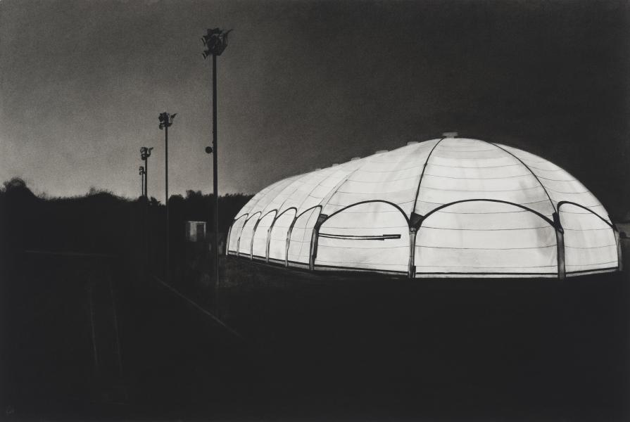 Charcoal drawing of Patterson Park ice rink