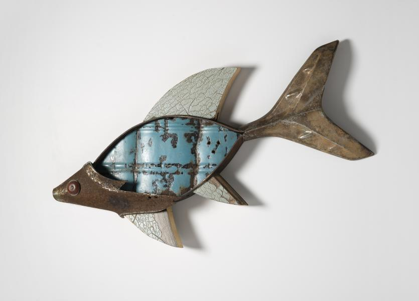 wall sculpure, found object assemblage, fish, mixed media