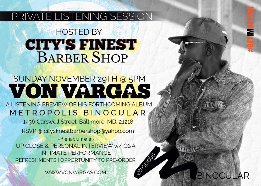 Von Vargas Listening Session Promo Flyer