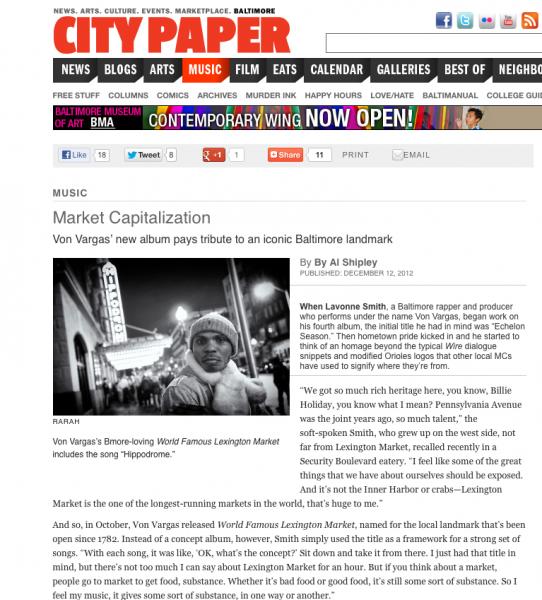 Von's World Famous Lexington Market Album Review in The City Paper