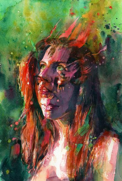 """Blaze,"" watercolor of two views of a woman's face merged together"