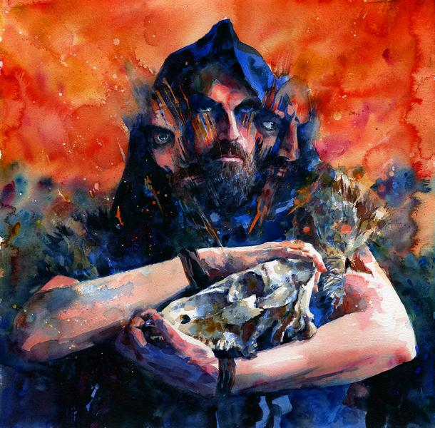 """Intermediary 2,"" watercolor of a man holding a skull"
