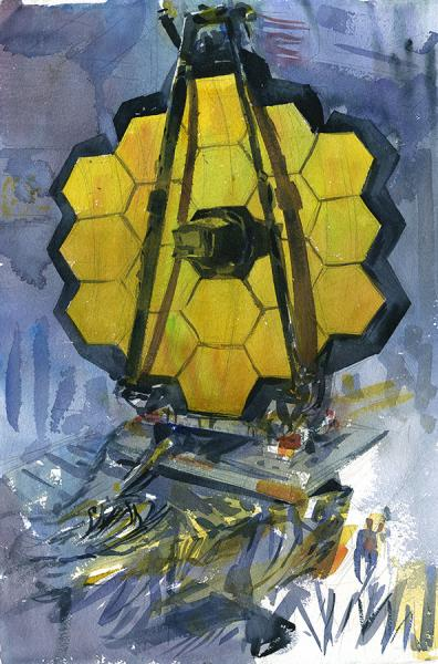 """James Webb Space Telescope,"" 15"" x 22"" watercolor on paper, 2016"
