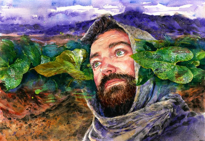 """Oasis,"" watercolor of a man in a desert seeing a vision of bright green leaves"