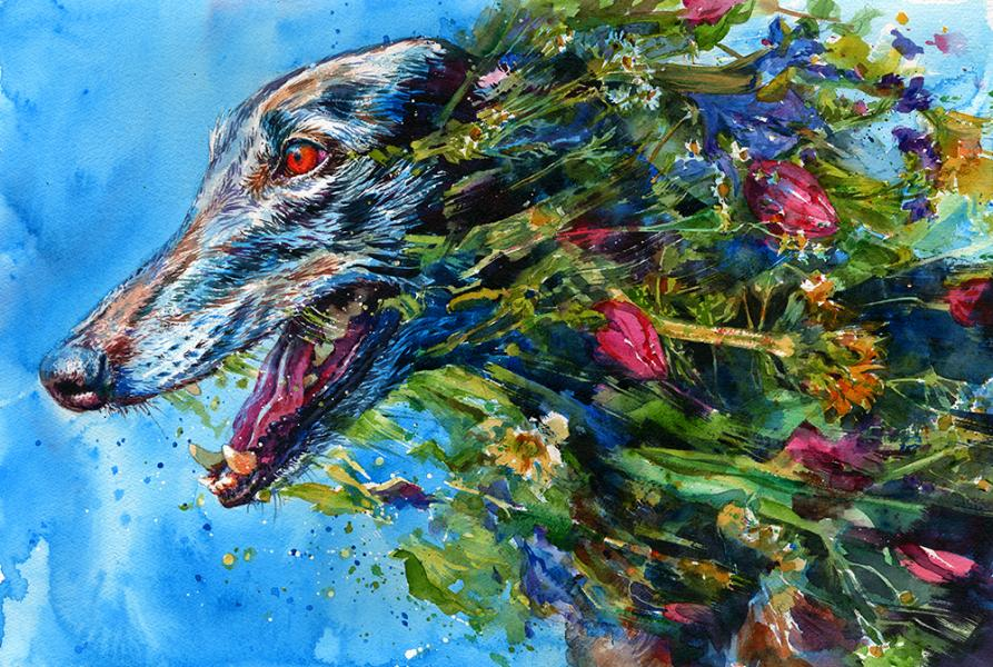 """Beautiful Zephyr,"" watercolor of a greyhound running through flowers"