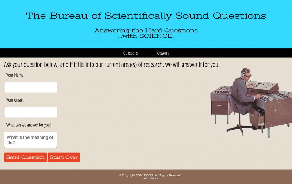 The Bureau of Scientifically Sound Questions website