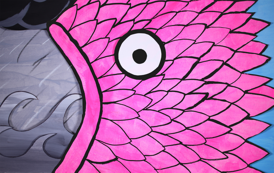 A giant pink fish/monster swallowing the ocean