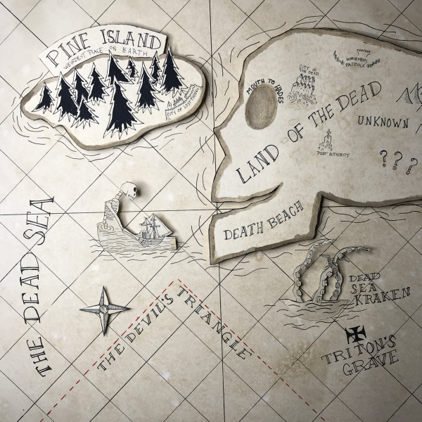 A handdrawn map of the land of the dead in a shadow box
